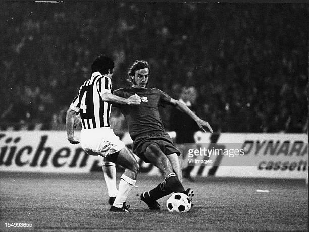 Giuseppe Furino of Juventus Johan Neeskens of Ajax during the European Cup Final between Ajax and Juventus at the Red Star Stadium on may 30 1973 in...