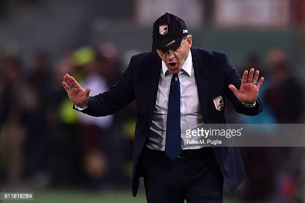Giuseppe Iachini head coach of Palermo gestures during the Serie A match between AS Roma and US Citta di Palermo at Stadio Olimpico on February 21...