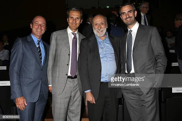 Giuseppe Lavazza Antonio Baravalle Carlo Petrini and Marco Lavazza attend the 2017 Lavazza Calendar Presentation on September 20 2016 in Milan Italy
