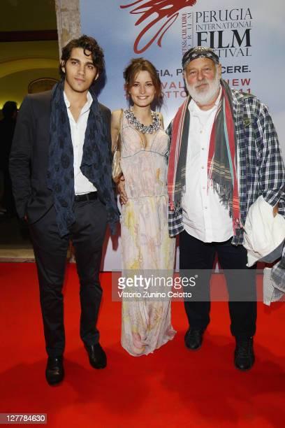 Giuseppe Maggio Giulia Elettra Goretti Bruce Weber attend the 'Senso' Gala Screening during the Perugia International Film Festival on October 1 2011...