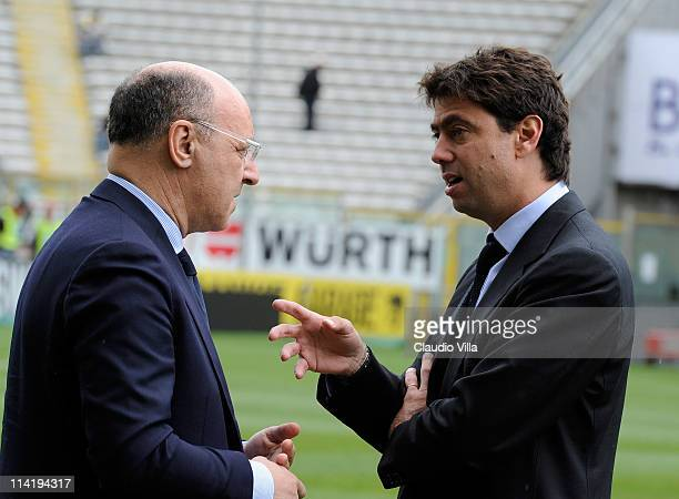 Giuseppe Marotta and Andrea Agnelli of Juventus FC during the Serie A match between Parma FC and Juventus FC at Stadio Ennio Tardini on May 15 2011...