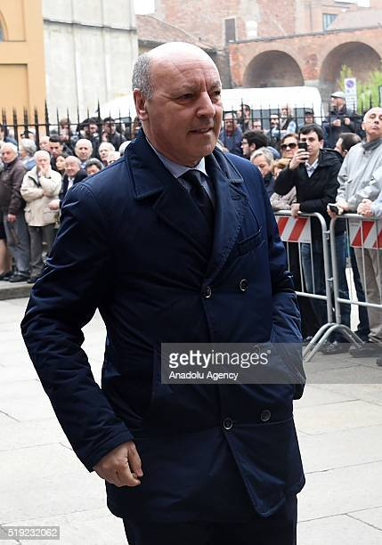 Giuseppe Marotta arrives in the courtyard of Sant'Ambrogio church for the funeral service of Cesare Maldini on April 5 2016 in Milan Italy AC Milan...