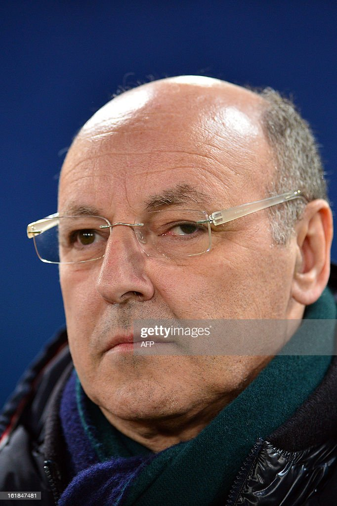 Giuseppe Marotta, Juventus' Sport Dept. Chief Executive Officer and General Manager, is pictured prior during the Italian Serie A football match between AS Roma and Juventus on February 16, 2013 at the Olympic Stadium in Rome.