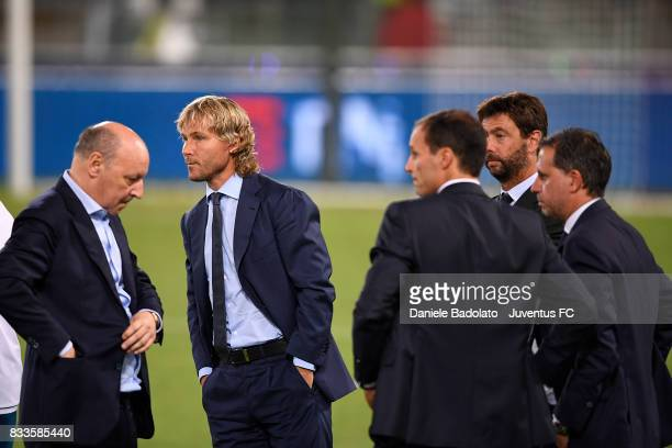 Giuseppe Marotta Pavel Nedved Massimiliano Allegri Andrea Agnelli and Fabio Paratici during the Italian Supercup match between Juventus and SS Lazio...
