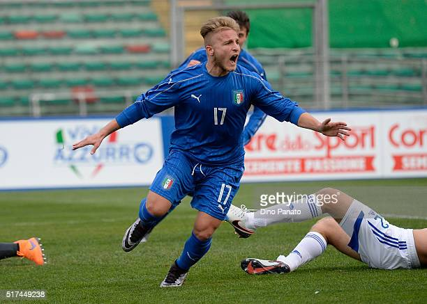 Giuseppe Panico of Italy celebrates after scoring his opening goal at Stadio Euganeo during the UEFA European U19 Championship Elite Round match...