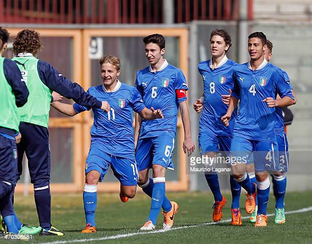 Giuseppe Panico of Italy celebrates after scoring the opening goal during the international friendly match between Italy U17 and Hungary U17 at...