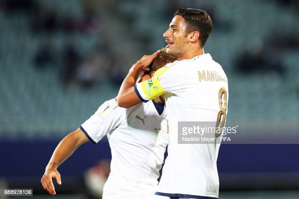 Giuseppe Panico of Italy celebrates with Rolando Mandragora after scoring his teams second goal during the FIFA U20 World Cup Korea Republic 2017...