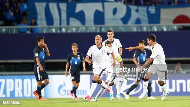 Giuseppe Panico of Italy center celebrates with teammates after scoring his teams second goal during the FIFA U20 World Cup Korea Republic 2017 group...