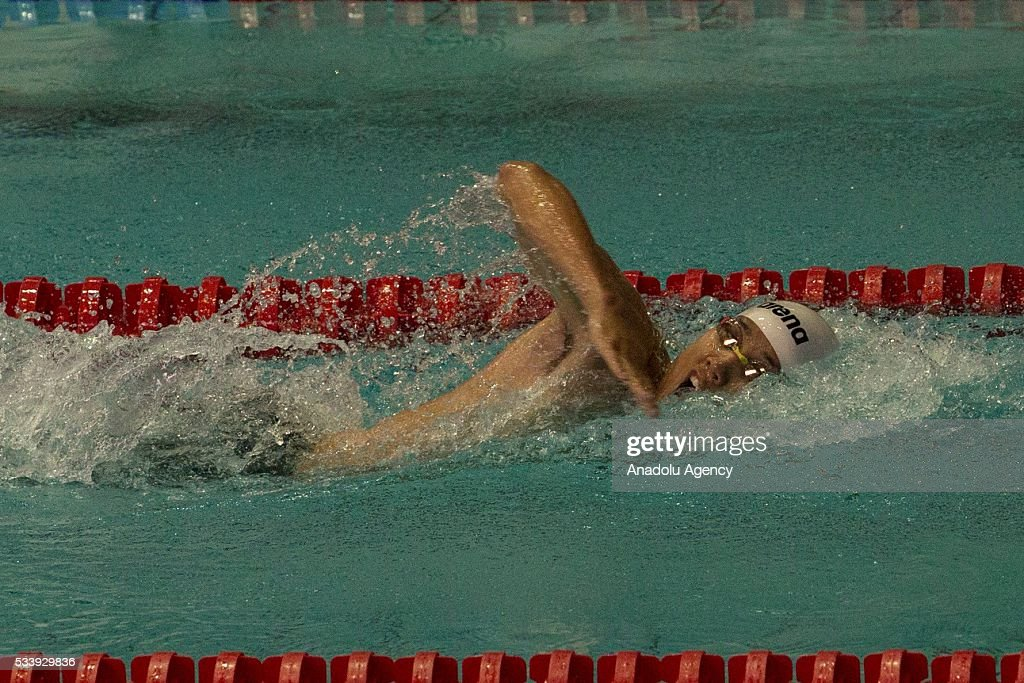 Giuseppe Parisi of Italy competes during the men's relay World Championship in modern pentathlon in Moscow in Olympic Sports Complex in Moscow, Russia, on May 24, 2016.