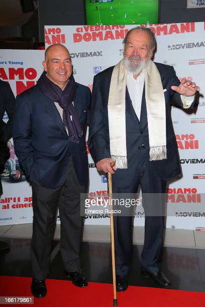 Giuseppe Pedersoli and Bud Spencer attend 'Ci Vediamo Domani' premiere at Cinema Adriano on April 9 2013 in Rome Italy