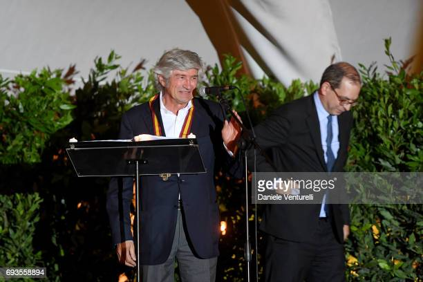 Giuseppe Penone is awarded by Laurent Le Bon during McKim Medal Gala at Villa Aurelia on June 7 2017 in Rome Italy