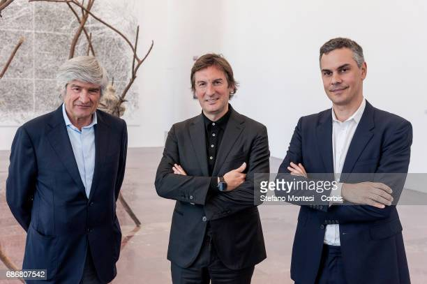 Giuseppe Penone Pietro Beccari Chairman and Ceo of Fendi and Massimiliano Gioni curator of the exhibition during a press preview for an art...