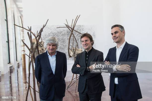 Giuseppe Penone Pietro Beccari Massimiliano Gioni during the press conference in the framework of exhibition 'Matrice' by Giuseppe Penone for the...