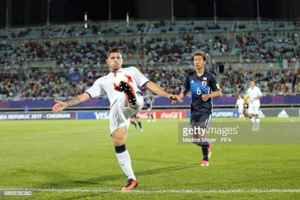 Giuseppe Pezzella of Italy keeps the ball in bounds during the FIFA U20 World Cup Korea Republic 2017 group D match between Japan and Italy at...