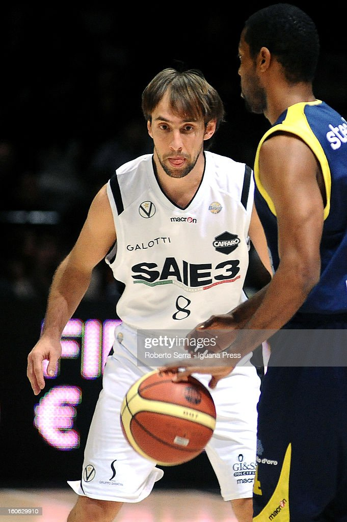 Giuseppe Poeta of SAIE3 in action during the LegaBasket Serie A match between Virtus Bologna SAIE3 and Sutor Montegranaro at Unipol Arena on February 3, 2013 in Bologna, Italy.