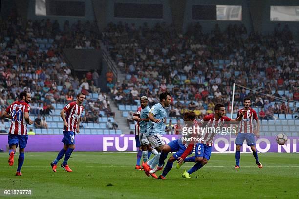 Giuseppe Rossi and Atletico de Madrid players in action during the Spanish league football match Real Club Celta de Vigo vs Club Atlético de Madrid...