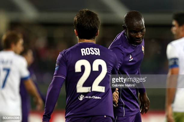Giuseppe Rossi and Khouma Babacar of ACF Fiorentina gestures during the UEFA Europa League match between ACF Fiorentina and Os Belenenses on December...