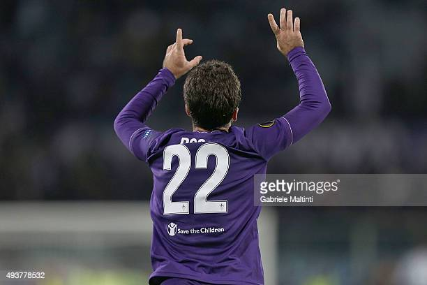 Giuseppe Rossi of ACF Fiorentina celebrates after scoring a goal during the UEFA Europa League group I match between ACF Fiorentina and KKS Lech...