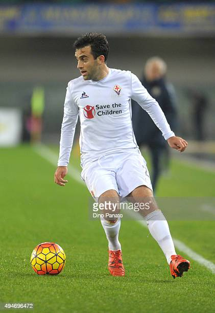 Giuseppe Rossi of ACF Fiorentina in action during the Serie A match between Hellas Verona FC and ACF Fiorentina at Stadio Marc'Antonio Bentegodi on...