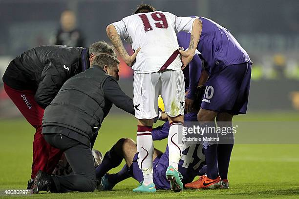 Giuseppe Rossi of ACF Fiorentina is replaced injured during the Serie A match between ACF Fiorentina and AS Livorno Calcio at Stadio Artemio Franchi...