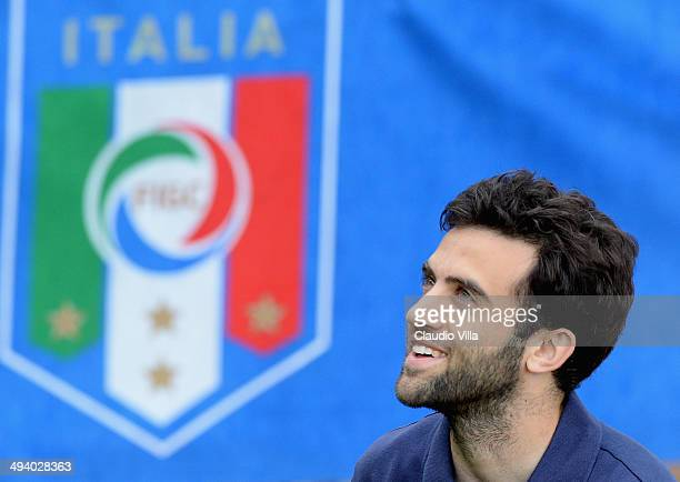 Giuseppe Rossi of Italy during a training session at Coverciano on May 27 2014 in Florence Italy