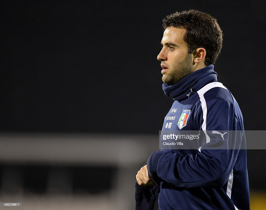 Giuseppe Rossi of Italy during a training session at Craven Cottage on November 17, 2013 in London, England.