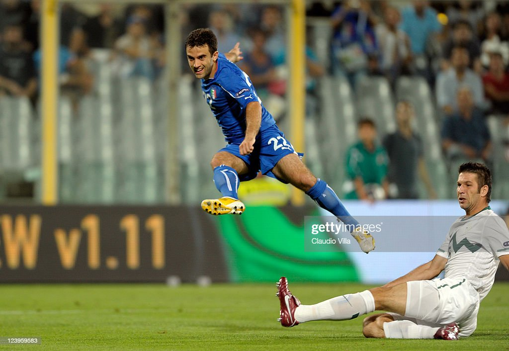 Giuseppe Rossi of Italy during the EURO 2012 Qualifier match between Italy and Slovenia at Stadio Artemio Franchi on September 6, 2011 in Florence, Italy.