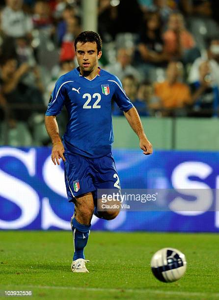 Giuseppe Rossi of Italy during the Euro 2012 qualifying match between Italy and Faroe Islands at Stadio Artemio Franchi on September 7 2010 in...