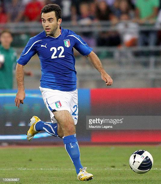 Giuseppe Rossi of Italy during the international friendly match between Italy and Spain at Stadio San Nicola on August 10 2011 in Bari Italy