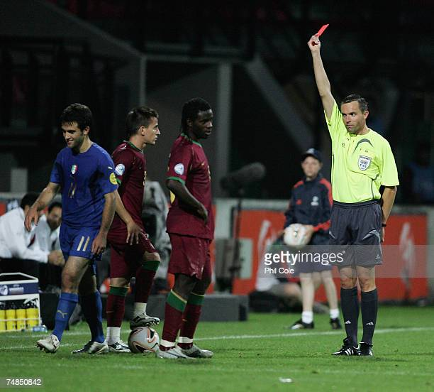 Giuseppe Rossi of Italy gets sent off by referee Stephane Lannoy during the UEFA European Under21 Championship Olympic PlayOff match between Portugal...