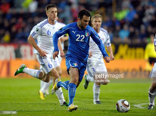 Giuseppe Rossi of Italy in action during the EURO 2012 Group C Qualifier match between Faroe Islands and Italy at Torsvollur Stadium on September 2...