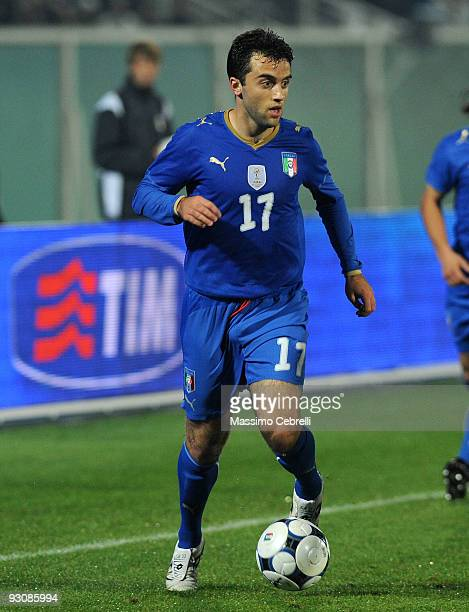 Giuseppe Rossi of Italy in action during the international friendly match between Italy and Holland at Adriatico Stadium on November 14 2009 in...