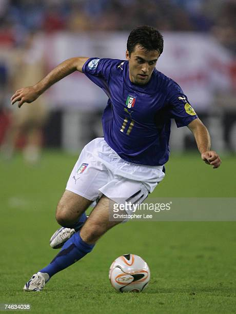Giuseppe Rossi of Italy in action during the UEFA U21 Championship Group B match between England U21 and Italy U21 at the Gelredome Stadium on June...