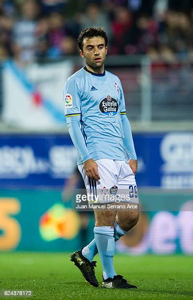 Giuseppe Rossi of RC Celta de Vigo reacts during the La Liga match between SD Eibar and RC Celta de Vigo at Ipurua Municipal Stadium on November 19...