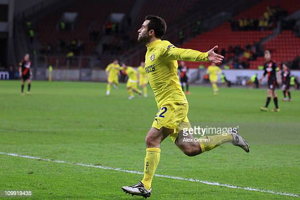 Giuseppe Rossi of Villarreal scores his team's first goal during the UEFA Europa League round of 16 first leg match between Bayer Leverkusen and...