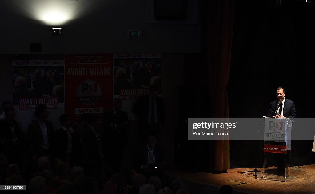 Giuseppe Sala speaks during a rally in support of Democratic candidate for mayor of Milan, Giuseppe Sala, on May 31, 2016 in Milan, Italy. The Milan mayoral elections are due to take place on June 5, 2016.