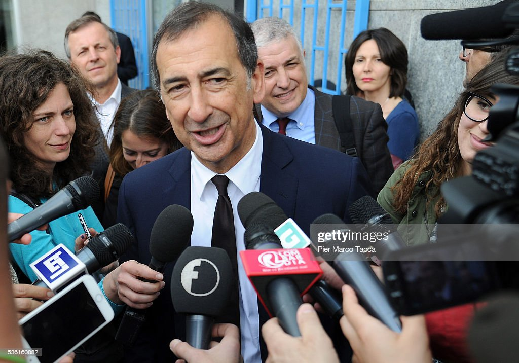 Giuseppe Sala speaks to media during a rally in support of Democratic candidate for mayor of Milan, Giuseppe Sala, on May 31, 2016 in Milan, Italy. The Milan mayoral elections are due to take place on June 5, 2016.