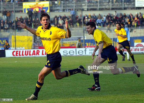 Giuseppe Sculli of Modena celebrates scoring during the Serie A match between Modena and Chievo played at the Braglia Stadium Modena Italy on...