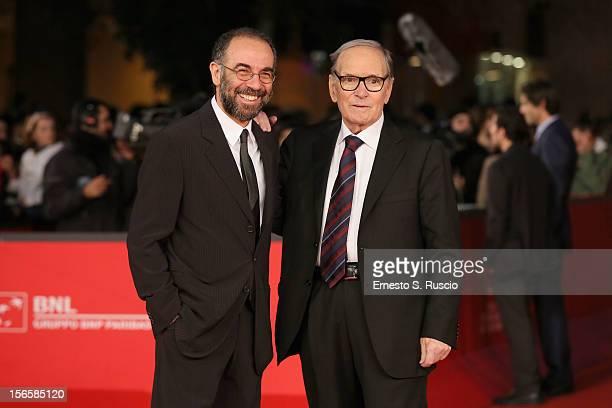 Giuseppe Tornatore and Ennio Morricone attend the 'Giuseppe Tornatore Ogni Film Un'Opera Prima' Premiere during the 7th Rome Film Festival at...