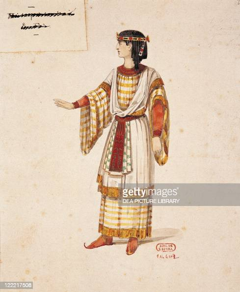 Giuseppe Verdi Aida 1871 Costume sketch for chorus singer by Auguste Mariette for the Premiere at Khedivial Opera House in Cairo December 24 1871