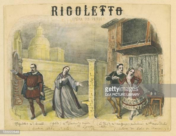 Giuseppe Verdi 'Rigoletto' Lithograph depicting final act famous quartet at the premiere at Theatre Lyrique du Chatelet on December 24 1863