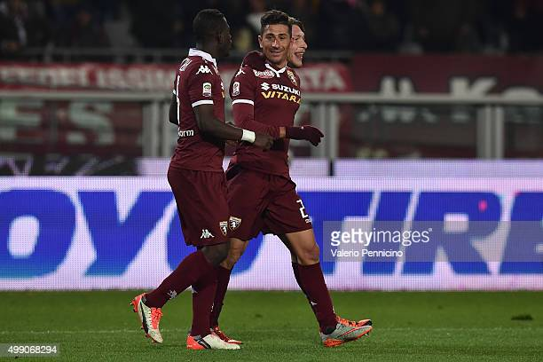 Giuseppe Vives of Torino FC celebrates after scoring their second goal with team mates Andrea Belotti and Afriyie Acquah during the Serie A match...