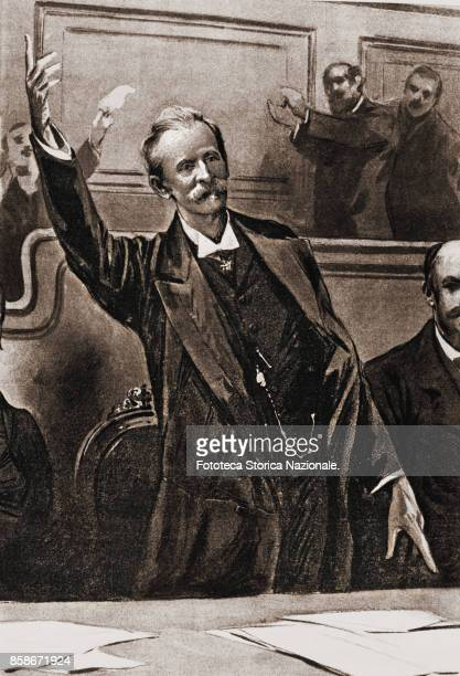Giuseppe Zanardelli President of the Council of Ministers speaks to the Chamber Drawing Italy Rome December 13 1901