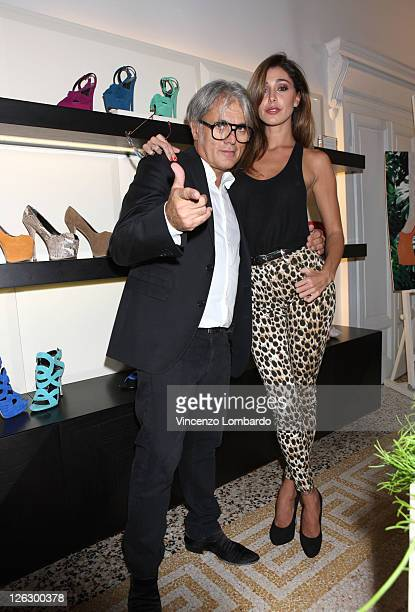 Giuseppe Zanotti and Belen Rodriguez attend the Giuseppe Zanotti Design Spring/Summer 2012 collection press preview as part Milan Womenswear Fashion...