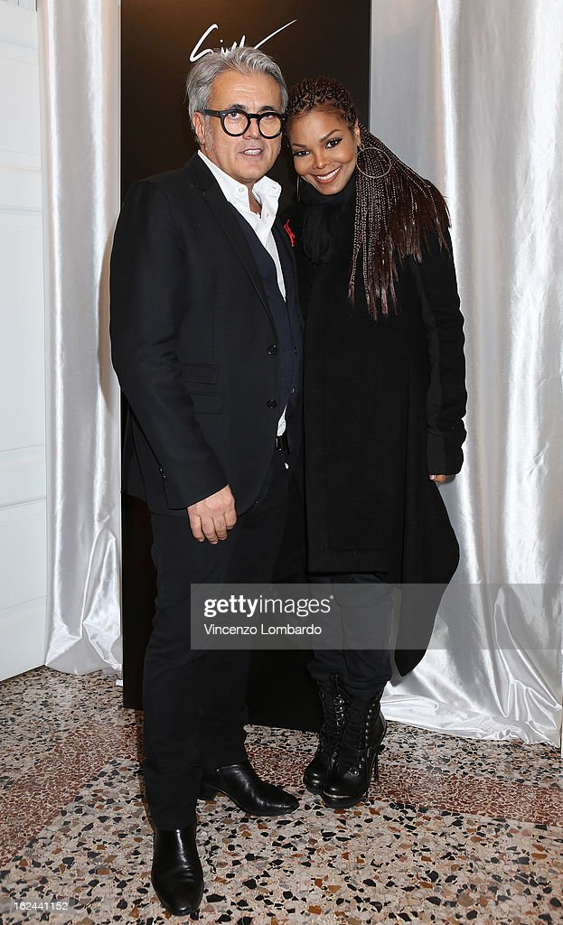 Giuseppe Zanotti and <a gi-track='captionPersonalityLinkClicked' href=/galleries/search?phrase=Janet+Jackson&family=editorial&specificpeople=156414 ng-click='$event.stopPropagation()'>Janet Jackson</a> attend the Giuseppe Zanotti Design Presentation during Milan Fashion Week Womenswear Fall/Winter 2013/14 on February 23, 2013 in Milan, Italy.
