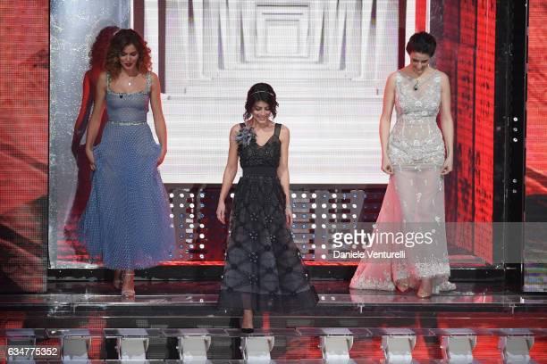 Giusi Buscemi Alessandra Mastronardi and Diana Del Bufalo attend the closing night of 67th Sanremo Festival 2017 at Teatro Ariston on February 11...
