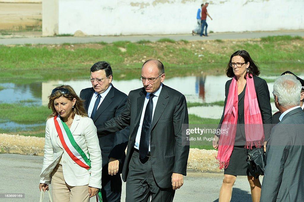 Manuel Barroso And Enrico Letta Visit The Island Of Lampedusa