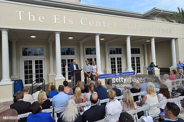 Giussepe Ciucci Chairman of the Board of the Els For Autism Foundation speaks during The Els Center for Excellence Grand Opening Ceremony on August...