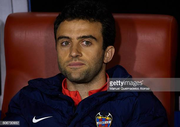 Giusseppe Rossi of Levante looks on prior to the La Liga match between Levante UD and UD Las Palmas at Ciutat de Valencia Stadium on January 25 2016...