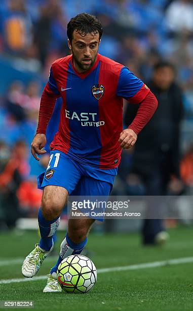Giusseppe Rossi of Levante runs with the ball during La Liga match between Levante UD and Atletico de Madrid at Ciutat de Valencia on May 8 2016 in...